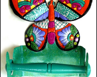 Butterfly, Painted Metal Toilet Paper Holder, Metal Bathroom Decor, Toilet Tissue Holder, Bathroom Accessories, Metal Art, M-901-OR-TP