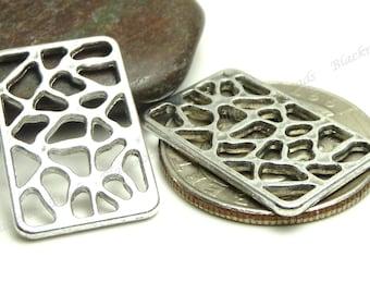 Antique Silver Rectangle Metal Links - 10pcs - 24x15mm - Hollow Metal Connectors - BA35