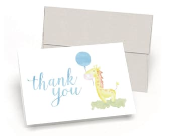Gee Thank You! Giraffe Baby Shower Thank You Cards (Set of 10 Cards + Envelopes) - Watercolor Baby Giraffe - By Palmer Street Press