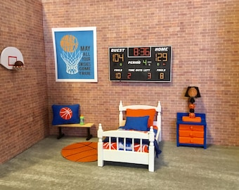 Dollhouse Miniature Complete Basketball Themed Bedroom 1:12 Scale