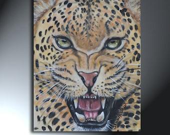 Leopard Face Original Artwork 11x14 Big Cat Painting On Canvas