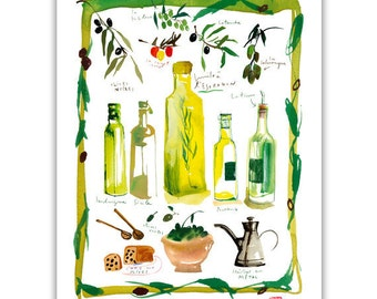 Olive oil bottle poster, Italian kitchen print, Food art, Italian food poster, Yellow kitchen decor, Watercolor painting, Kitchen wall art