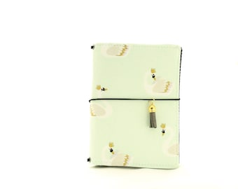 A6 Mint Swan Fabric Cover Fauxdori, Travelers Notebook