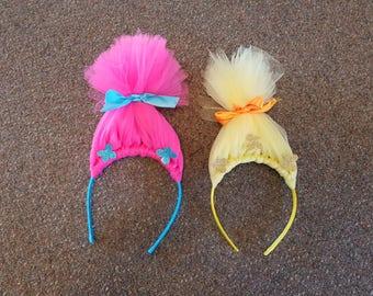 Troll hair headband   - Trolls headband, troll birthday headband, princess poppy headband