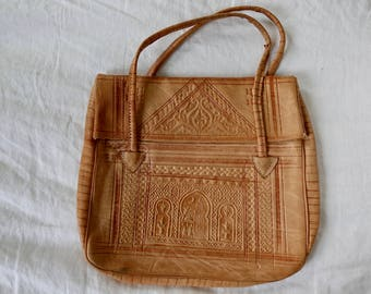 Soft Embossed Leather Foldover Bag