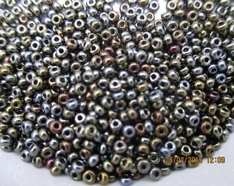 Seed beads brown iris 2 mm 11/0 - 10 gram bag-