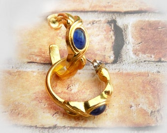 blue gold hoop earrings-  lapis gold tone hoop earrings - Vintage Post Earrings -fashion jewelry -  # J 13