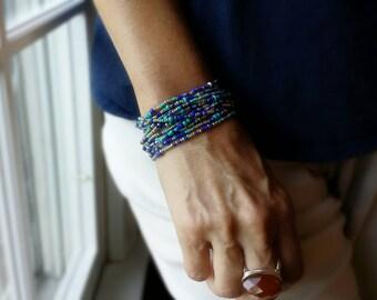 "Santorini Beaded Wrap Bracelet  - 87"" Long Seed Bead Stretch Bracelet"