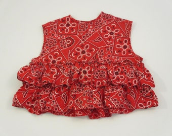 vintage bandanna top with ruffles sleeveless red white and black vintage little girl clothes vintage summer clothes ruffle shirt