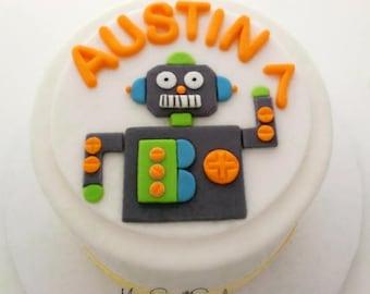 Robot Cake Topper , Robot Topper , Robot Cake , Robot Birthday