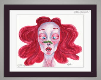 Caterpillar Watercolor Painting, Fashion Illustration Art Print, Watercolor Portrait Illustration, Red Head Female Pop Art Painting