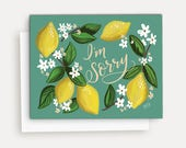 I'm Sorry - A2 Note Card - Sympathy Card - Lemon Illustration - Yellow and Green - Hand Lettering and Illustration By Valerie McKeehan
