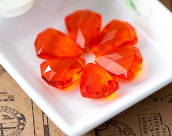 Vintage Pendant Beads West Germany Translucent Orange Faceted Plastic Drops 17mm