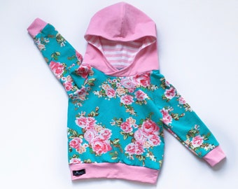 baby girl hoodie, floral toddler hoodie, mint girl hooded shirt, handmade baby hoodie, flower hooded shirt, trendy girl clothes, baby shower