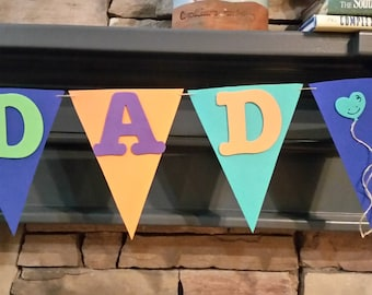 BEST DAD Foam Banner, Foam Flag Bunting, Father's Day Banner, Birthday Banner, Party Decoration, Foam Banner on Jute twine