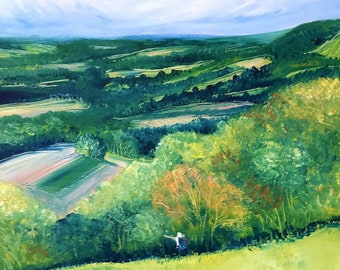 Admiring the View from Reigate Hill, small, original, landscape oil painting