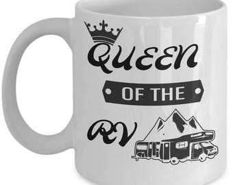 Wife Camping Mug-Queen of the RV Kitchen Camper Coffee Cup Gift Caravaners-Women