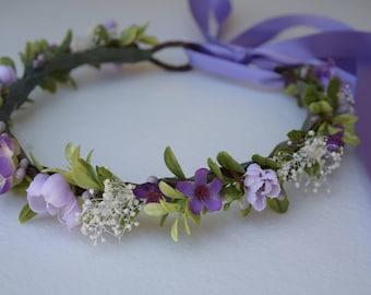 Boxwood Lavender Flower Crown - Bridal Hair Wreath - Greenery Crown - Photo Prop - Flower Girl Crown - Garden Wedding - Lavender Hair Wreath