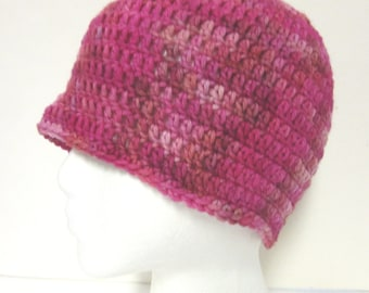 Pink Wool Hat, Womans, Easter, Cap, Crochet, Beanie, Cloche, Chunky, Soft, Warm, Springtime, Unique, Stylish, Trending Handmade