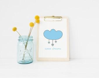 Baby blue Sweet Dreams printable art - nursery, kids room, instant download