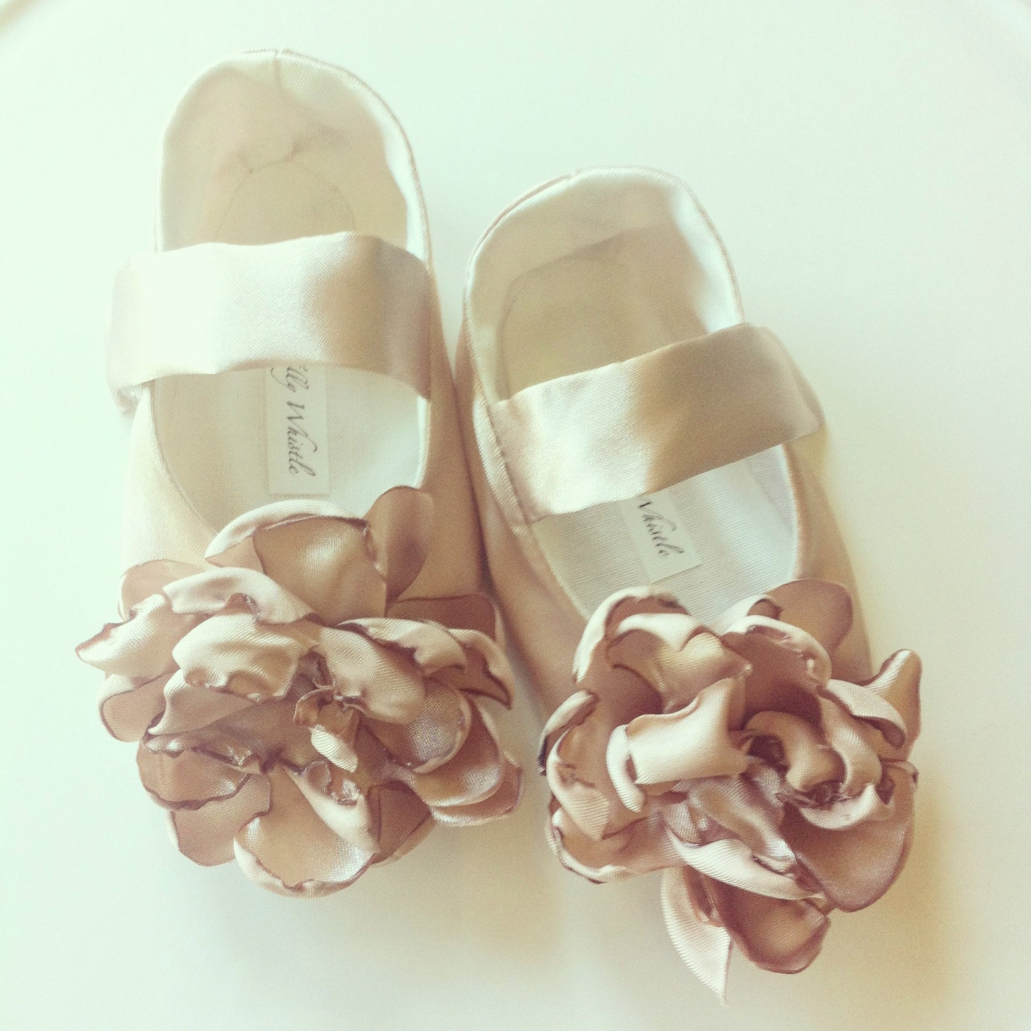 Champagne Gold Satin Flower Girl Shoes Baby Girl Shoes