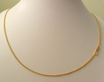 Genuine Solid 9ct Yellow Gold Fine Cable Chain Necklace with PARROT CLASP 45 cm Length
