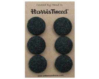 Harris Tweed Pure Wool Diesel Green Handmade Covered Set of 6 Buttons 24mm Diameter