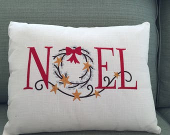 Pillow, Holiday Pillow 12 x 16 White Linen Free Shipping