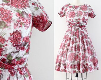 1950s dress small - hydrangea floral print day dress - cotton voile - size Small / Extra Small 25 inch waist Jean Lang mad men  midcentury