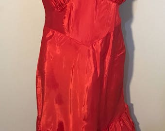 """Vintage new old stock Gileads rayon taffeta  Shiny Red Slip nightgown With ruffles 1950s size 36"""""""