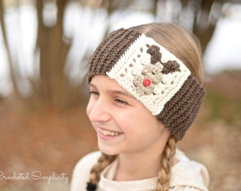 Crochet Pattern: Reindeer Headwarmer Earwarmer **Permission to Sell Finished Items INSTANT DOWNLOAD