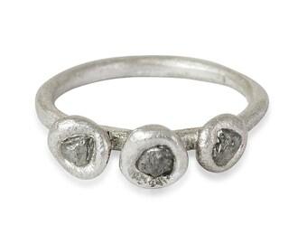 Rough Diamond Sterling Silver Ring, Raw Diamond Ring, Uncut Diamond Engagement Ring, Alternative Bridal Jewelry, Alternative Bride
