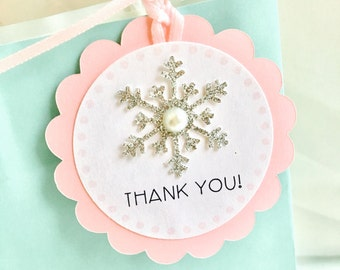 Snowflake Gift Tags, Thank You Gift Tags, Winter Theme