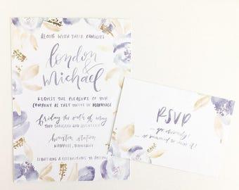 Watercolor Florals Semi-Custom Wedding Invitations