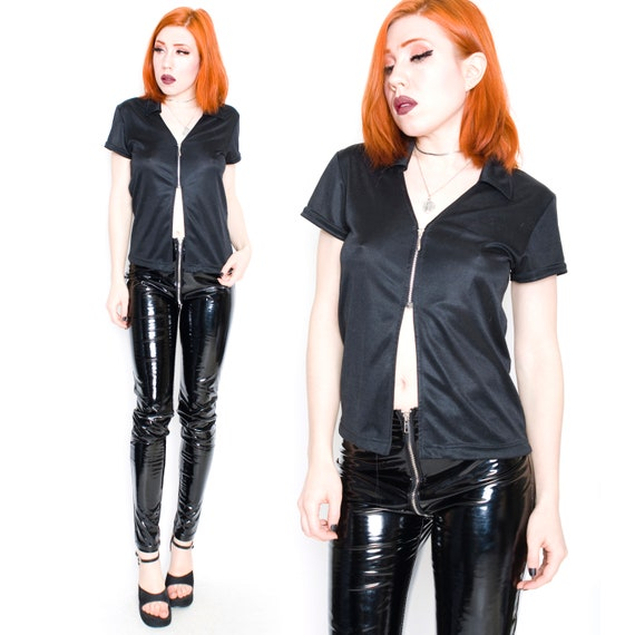90s Vintage Zipper Front Cutout Rave Club Techno Cyber Emo Goth Crop Split Top Tee Small by Etsy