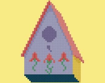 Easy Birdhouse Cross Stitch Pattern PDF Digital Download