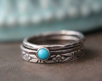 Silver Turquoise Stacking Ring Set - Floral Stack Set of 3