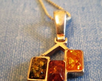 NECKLACE - Triple - BALTIC AMBER -  925 - Sterling Silver -  18  Inch Chain   necklace345