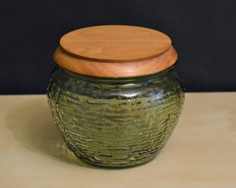 "Vintage Anchor Hocking Green Soreno 5"" Glass Jar with Wood Lid, Canister, Humidor, Avocado"