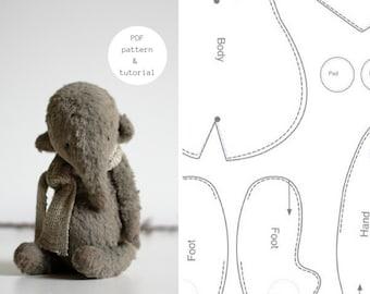 PDF Sewing Pattern & Tutorial Stuffed Elephant  6 Inches Stuffed Animal Pattern Artist Teddy Bear Pattern For Women Plush Pattern Soft Toys