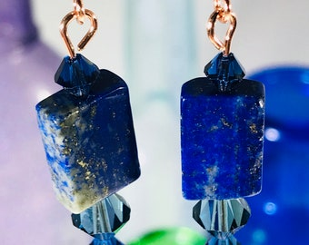 Dark Blue Swarovski Crystal with Natural Stone Earrings
