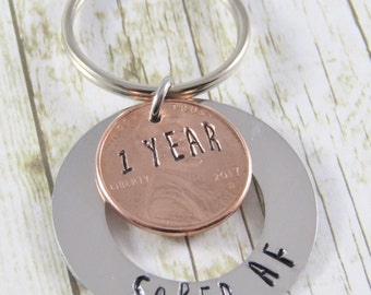 Sober AF keychain, 1 Year sobriety gift, recovery gift, 1 Year Sober AF gift, 1 year penny key chain, sponsor gift, gift for sobriety