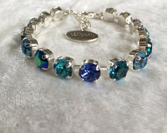 Crystal bracelet, swarovski crystal, 8mm, blue, turquoise, emerald ab - affordable jewelry- bridesmaids gift- wedding jewelry