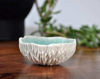 Copper Blue Small Geode Bowl  - Blue White Small Ceramic Bowl Ring Dish Housewarming Gift Hostess gift