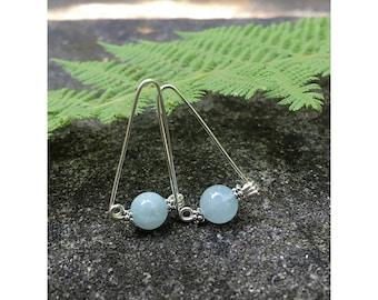 Simple Dangle Earrings, Bohemian Earrings, Aquamarine Dangle Drop Sterling Earrings, Sterling Earrings, Gemstone Earrings, Boho Jewelry