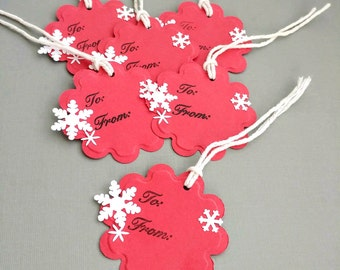 10 Red To From Gift Tags, Embossed, With White Snowflakes and White Cotton Twine