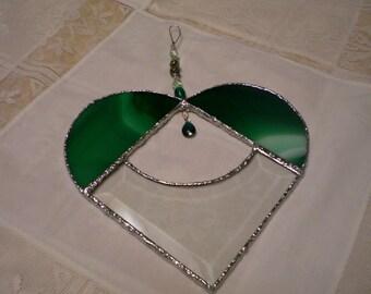 green bevel HEART stained glass suncatcher