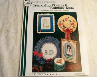 Counted Cross Stitch Pattern - Friendship Flowers & Rainbow Kisses By June Grigg Designs - Lasting Impressions