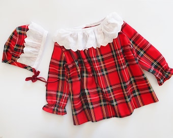 Bundle Baby dress and Bonnet with lace detail, Christmas Celebration,red tartan plaid pattern, red, baby clothes, baby girl, classic look
