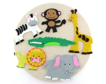 Handmade Jungle Animal Felt Board Story Toy, Flannel Board Story Gift for Little Boy or Girl,  Quiet Time Travel Toy, Felt Jungle Animal Toy